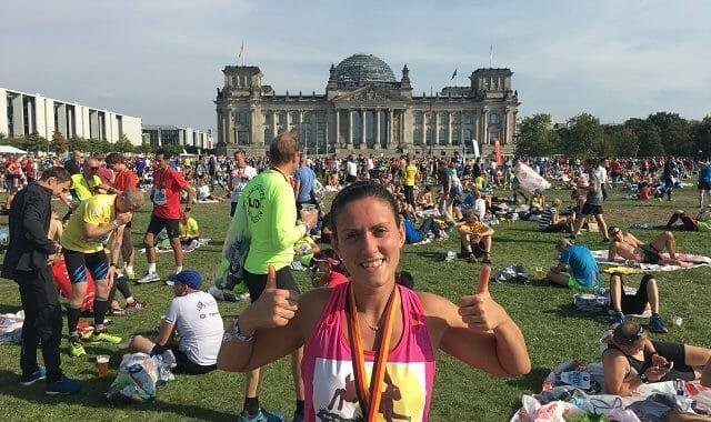 Ri Price having completed the Berlin Marathon