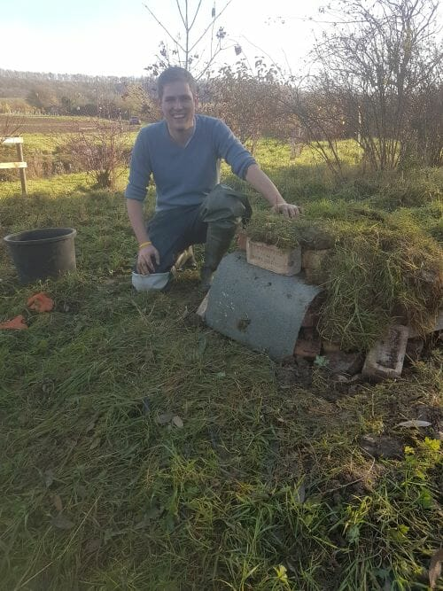 Tim with the Completed Hibernaculum