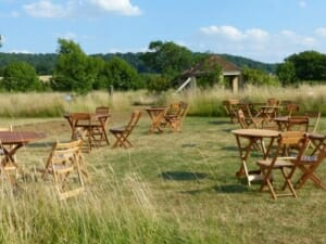 Tables and Chairs on the Mown Square at Sun Rising Natural Burial Ground and Nature Reserve