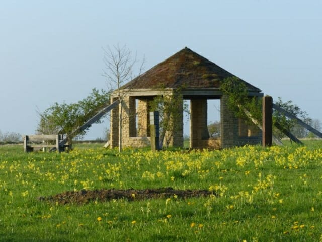 Cowslips, Meadow Grave and the Roundhouse at Sun Rising Natural Burial Ground and Nature Reserve