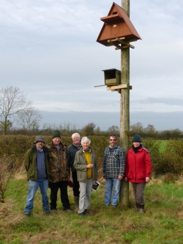 Barn Owl Team with Nestbox Sponsors at Sun Rising Natural Burial Ground and Nature Reserve