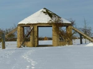 Snow to the Roundhouse at Sun Rising Natural Burial Ground and Nature Reserve