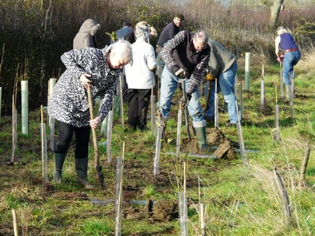 Volunteers Tree Planting at Sun Rising Natural Burial Ground and Nature Reserve