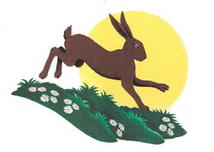The Friends of Sun Rising logo: drawing of a hare bounding over grass against the background of a rising sun.